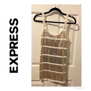 Express gold sequin tank top